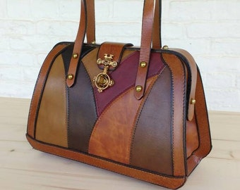 Burlington Leather Patchwork Handbag Purse