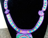 Green and Purple Machine Embroidery Lace Peacock Necklace