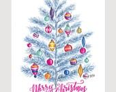 Retro Christmas Decoration - Retro Christmas Tree - Merry Christmas Print - Holiday Print - Christmas Decor - Modern Christmas Print