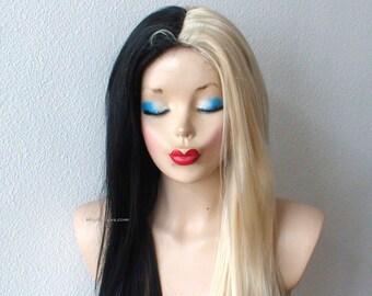 Blonde/Black wig. Half Blonde Half Black wig. Long hair blonde and black color wig. Black Blonde side by side wig.