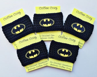 Coffee Cozy, Crochet Coffee Cozy, Batman, Mug Cozy, Cozy, Mug, Cup Cozy, Batman cup cozy, Coffee Cozy Sleeve, crochet cup cozy, Coffee