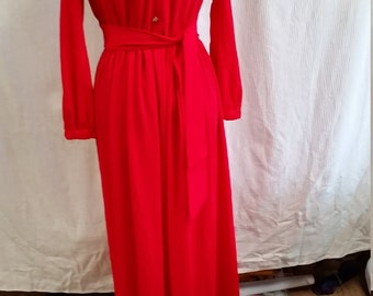 1970's red cocktail  maxi dress