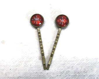 Decorative hair pins set of two red plaid bobby pins snowflake gift ideas for her under 10