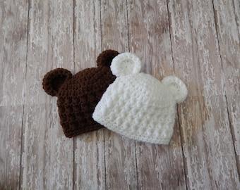Crochet Bear Hat - Textured Crochet Hat - Newborn Bear Hat - Baby Photo Prop - Textured Newborn Photo Prop - Baby Bear Hat - Ready to Ship