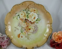 Vintage Large Hand Painted Artist Signed Hutschenreuther Bavaria Yellow Rose Porcelain Serving Tray Charger