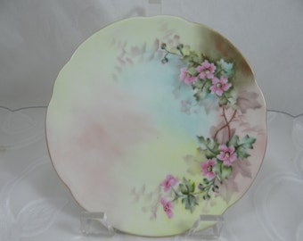 Vintage Classic Bavaria Hand Painted Artist Signed Pink Flower Plate