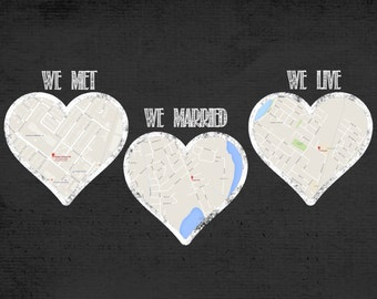 Met, Married, Live Hearts, Printable Custom Map