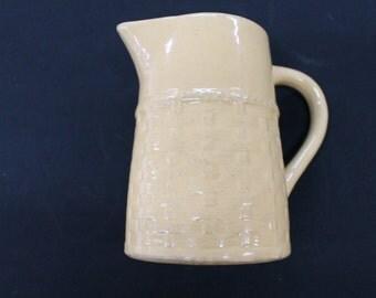 vintage gold crockery Medalta Potteries pitcher jug basketweave