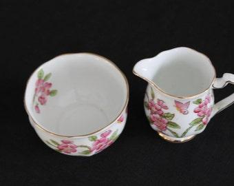 fine bone china cream & sugar pink flowers england