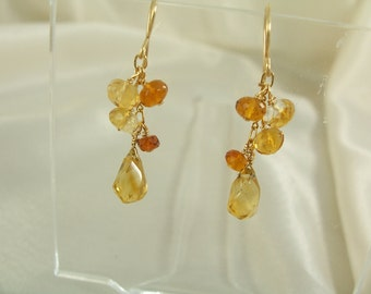 Citrine and Madeira twist citrine hook gold filled earrings gemstone handmade item 909