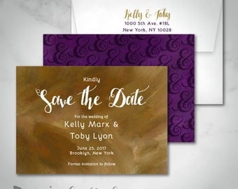 Save The Date | Glam Ampersand Brush Stroke Watercolor