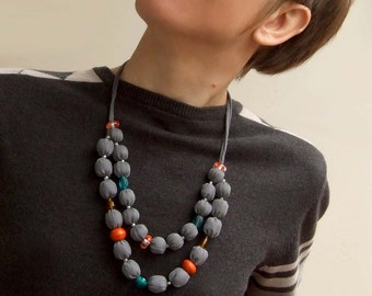 "Grey silk fabric statement necklace ""Bessarabia"" with glass and wood, soft textile beaded jewelry, boho style, grey orange blue"