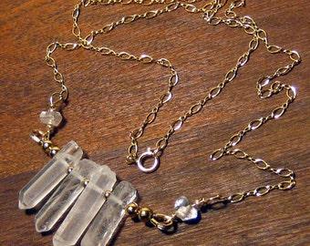 Quartz Crystal Necklace, Quartz Necklace, Gold Necklace, 14K Gold Filled, Bohemian Jewelry, boho jewelry, boho chic,Boho Jewelry