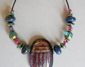 CUSTOM FOR CINDY: Dichroic Glass Scarab Blue Lapis Lazuli Rainbow Titanium Hematite Teal Glass and Black Leather Necklace Multi Chakra