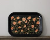 Coral Floral Metal Tray