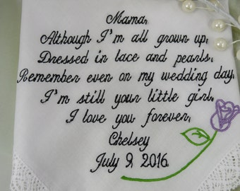 Beautiful Embroidered Wedding Gift For Your Mother On Your Wedding Day - Wedding Handkerchief - Bridal Wedding Hankie Gift - Gift For Mom --