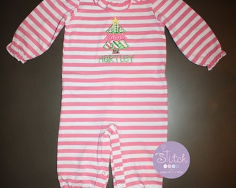 Pink Stripe Ruffle Romper with Christmas Tree