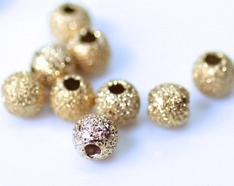 3mm, 14K Gold Filled Beads, Round with Stardust Finish, .9mm Hole, Choose Quantity, GF-2