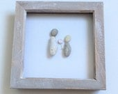 Pebble Art. Mothers Pebble Art, Mum and Daughter, Mother and Child, Picture for Mom, Pebble Picture, Mothers Day Picture