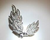 SALE 30 Trifari Crystal Leaf Brooch