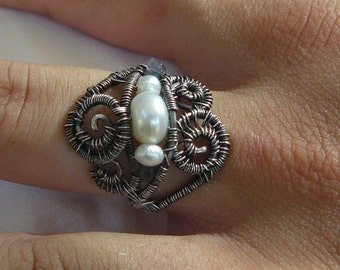 MERMAID - Sterling silver- Wire Wrapped – Ring – Handcrafted - size 8