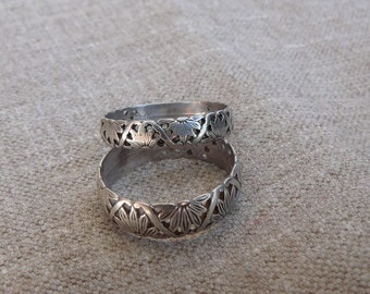Two Rings - Sterling Silver- Bands/Rings, Set of 2 - size 10