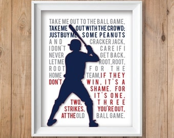 Baseball Art Boys Teens Nursery Sports Unframed Art Print, 8x10 or 11x14 - Navy, Red, Grey // Boys Teens Sports Bedroom Wall Art Print