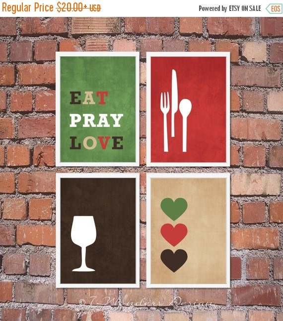 Modern Kitchen Wall Decor Eat Pray Love Trio By: ON SALE Modern Kitchen Wall Art Print Set