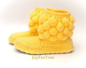 Crochet Boots for the Home Handmade Shoes for the House Women fashion Gifts for her Surprise for holiday Yellow Bubbles Custom Made
