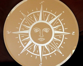 Compass Star Acid Etched Mirror