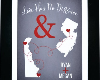 Long distance gift, couples, boyfriend, girlfriend, two maps art print, moving, deploying, going away, college love has no distance quotes