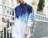 Blue Ombré , Blouse, Shirt, T-Shirt, All Over Print Streetwear Unisex