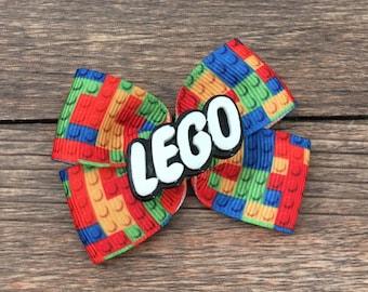 Lego Hair Bow-Legos Bow-Lego Hair Accessory-Girly Lego Hair Bow-Lego Birthday Party Hair Bow-Lego Building Blocks Hair Bow