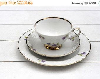 SALE Teacup Trio Set- Purple Floral and White Lattice Relief Country Shabby Chic Vintage German