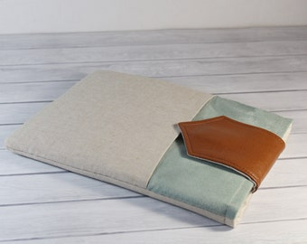 Fabric iPad Pro 9.7 Case Ipad Air 2 Sleeve foam Padded Handmade iPad Pro Cover Leather with Pocket in Mint Green