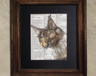 Dictionary Print: Diligent Maine Coon Cat in Vintage Monocle, Steampunk Cat Art Print