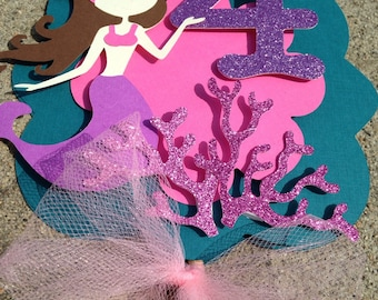 Mermaid cake topper, under the sea cake topper, mermaid decoration