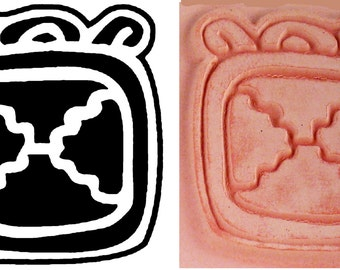 Mayan Design Stamp - Mayan Codex X Cross Hieroglyphic Design for Polymer Clay - PMC - Ceramic Clay - Scrapbooking Design Stamp - Mayan Codex