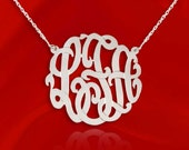 Monogram Necklace 1.25 inch Sterling Silver Handcrafted Monogram Personalized Initial Necklace - Made in USA