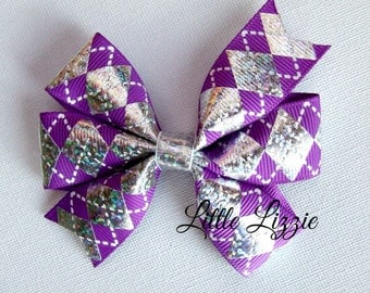 Purple Argyle pinwheel hair clip diamond girl toddler
