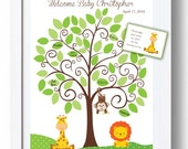 Baby Shower GuestBook -11x14 Sign-In Tree- Jungle Animals Baby Shower Guestbook Alternative -50 leaves-READ DESCRIPTION -Giraffe-Monkey-Lion