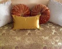 Velvet Solid Gold Pillow Covers, Decorative Velvet Pillows, Throw Pillows, Lumbar Pillow, All Sizes