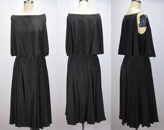 Late 1960s Bill Tice for Malcolm Starr Black Silk Classic Dress with Spaghetti Straps Bust 37""
