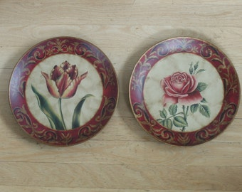 Pair of Red Country French painted floral plates