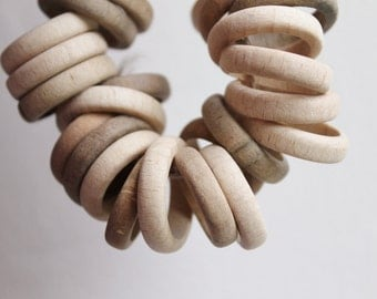 "Unfinished Wooden rings - 24 mm (0,94"")  - natural eco friendly - 10 pcs - made from plum-tree - teether rings"