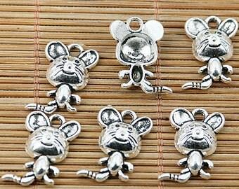 32pcs Tibetan silver lovely mouse charms EF1874