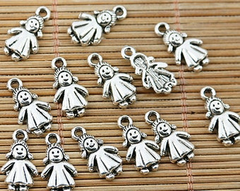 64pcs tibetan silver tone lovely little girl kid charms EF1796