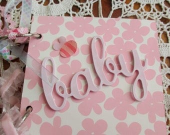 Baby Girl Scrapbook Album, Mini Scrapbook Album, Chipboard Album