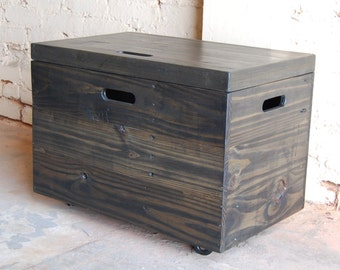 Wooden Crate with Lid/ Toy Chest/ Entryway Furniture/ Coffee Table/ Ebony