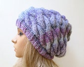 Women Cabled Slouchy Beanie Hand Knitted Hat, Women Braided Knit Beanie, Grey Pink Purple Slouchy Cabled Hat, Clickclackknits